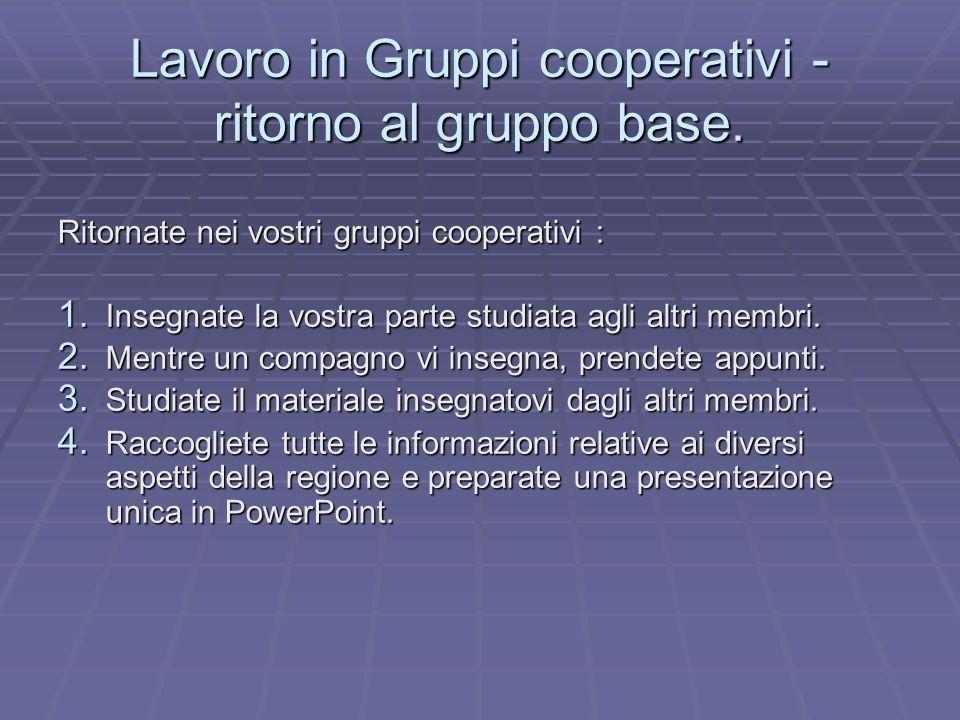 Lavoro in Gruppi cooperativi - ritorno al gruppo base.