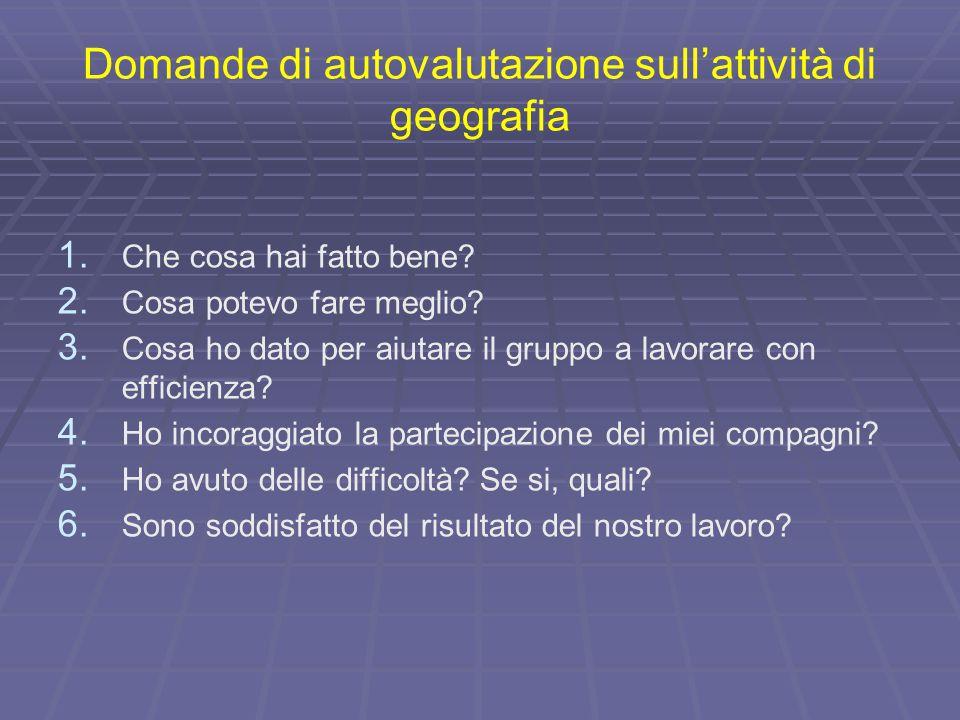 Domande di autovalutazione sull'attività di geografia
