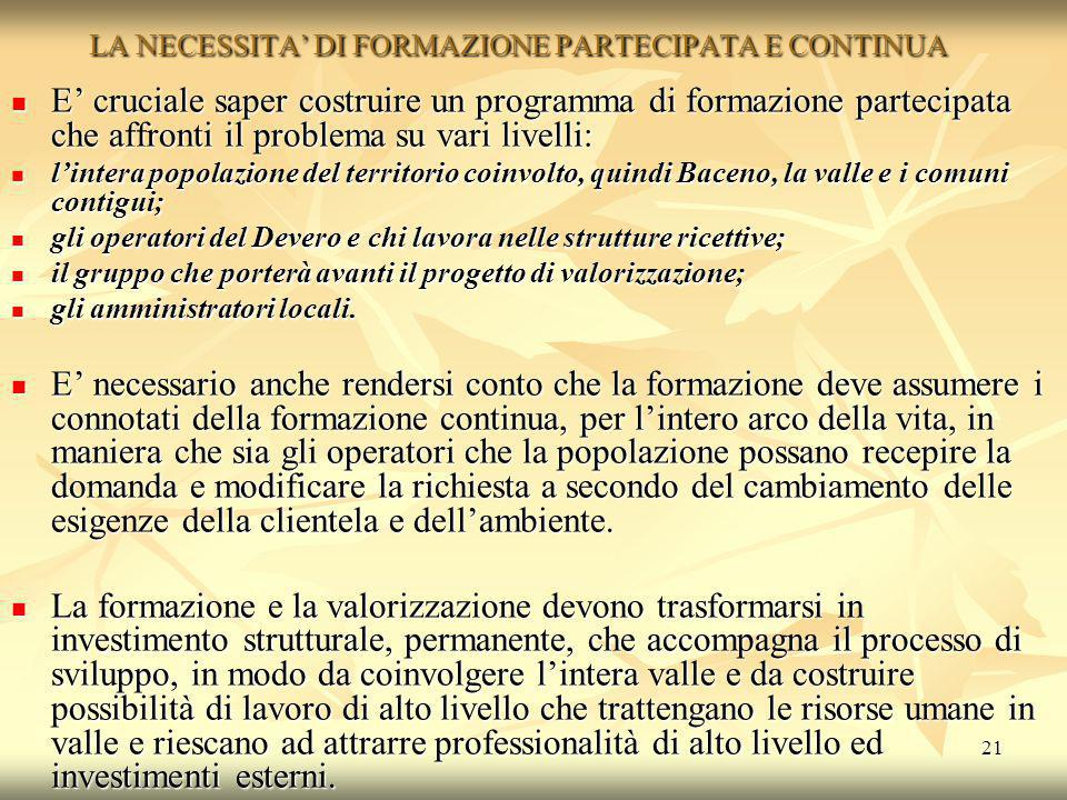 LA NECESSITA' DI FORMAZIONE PARTECIPATA E CONTINUA
