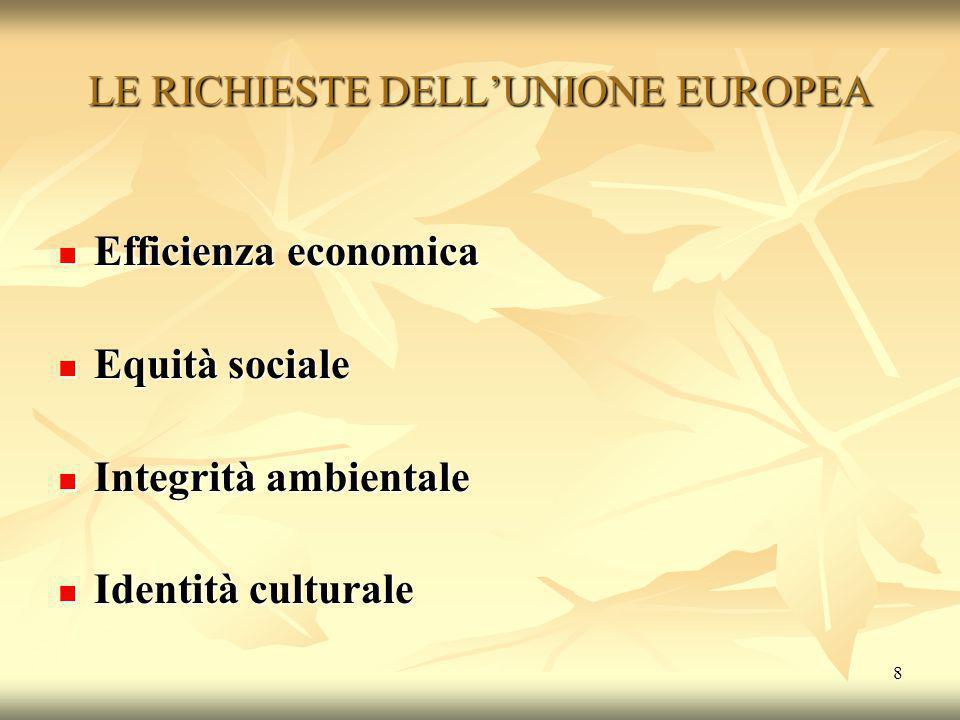 LE RICHIESTE DELL'UNIONE EUROPEA