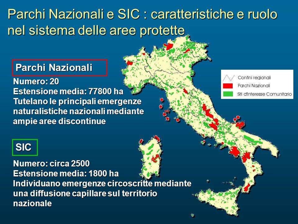 Parchi Nazionali e SIC : caratteristiche e ruolo nel sistema delle aree protette