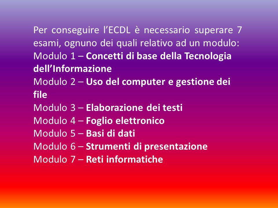 Per conseguire l'ECDL è necessario superare 7 esami, ognuno dei quali relativo ad un modulo:
