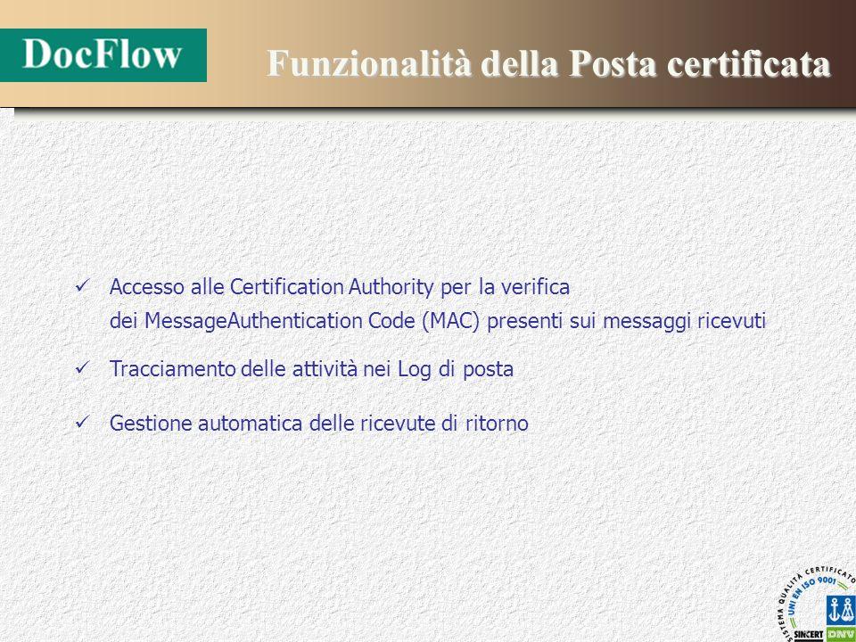 Funzionalità della Posta certificata