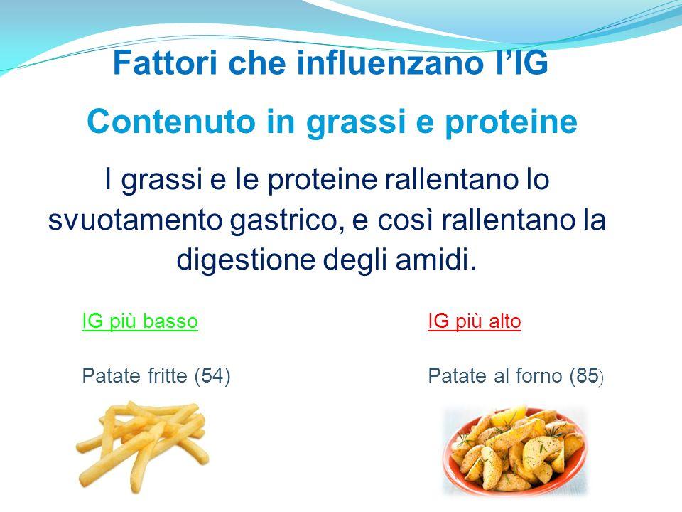 Fattori che influenzano l'IG Contenuto in grassi e proteine