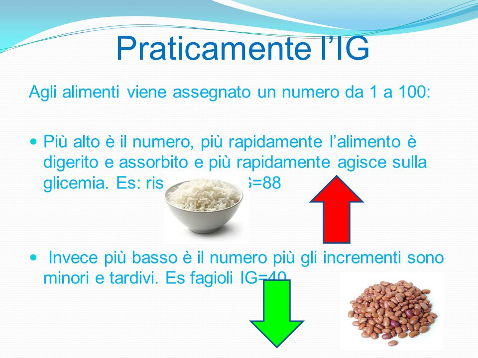 Praticamente l'IG Agli alimenti viene assegnato un numero da 1 a 100: