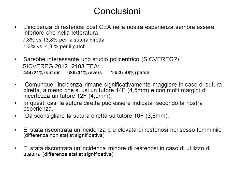 Conclusioni L'incidenza di restenosi post CEA nella nostra esperienza sembra essere inferiore che nella letteratura.