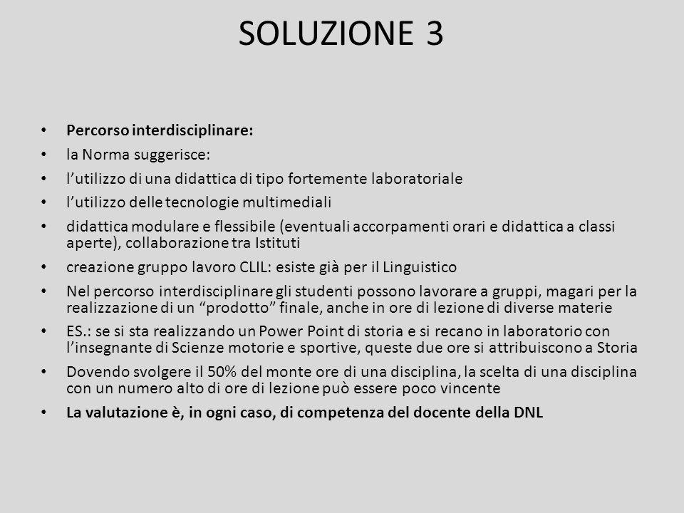 SOLUZIONE 3 Percorso interdisciplinare: la Norma suggerisce: