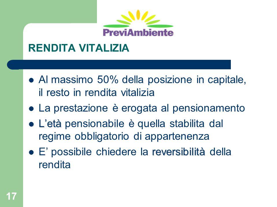 RENDITA VITALIZIA Al massimo 50% della posizione in capitale, il resto in rendita vitalizia. La prestazione è erogata al pensionamento.