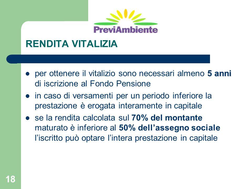 RENDITA VITALIZIA per ottenere il vitalizio sono necessari almeno 5 anni di iscrizione al Fondo Pensione.