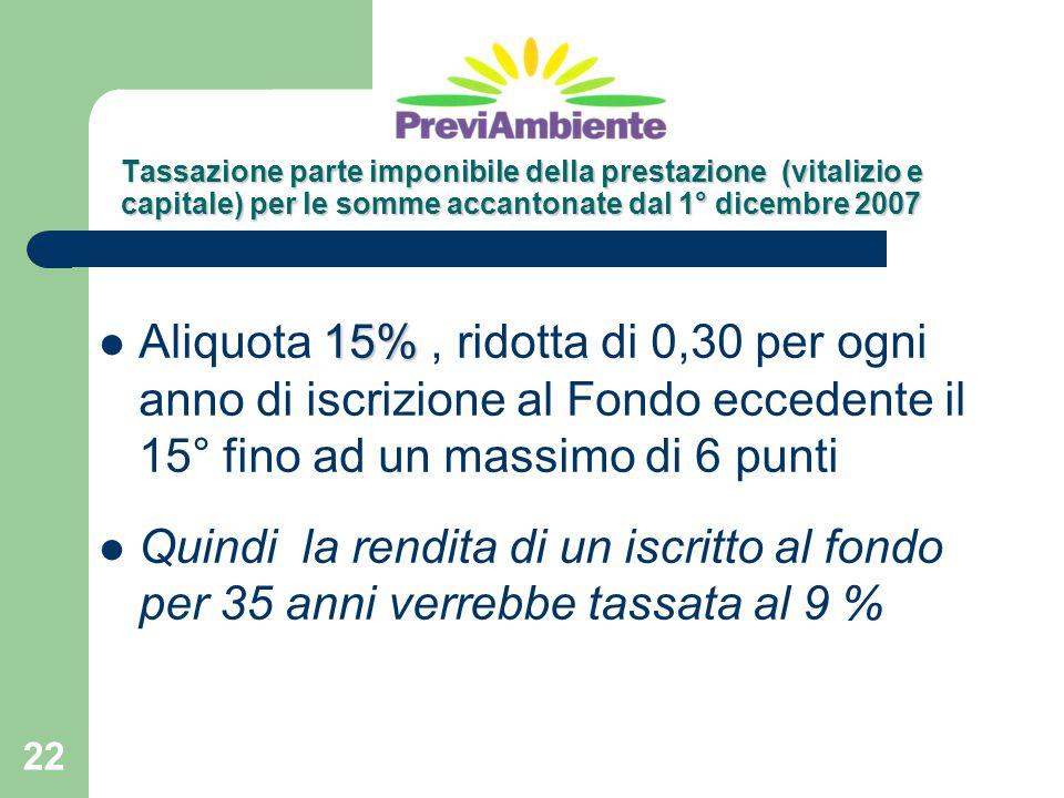 Tassazione parte imponibile della prestazione (vitalizio e capitale) per le somme accantonate dal 1° dicembre 2007