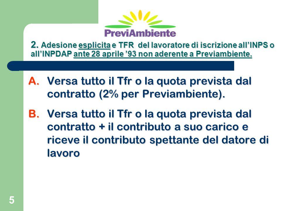 2. Adesione esplicita e TFR del lavoratore di iscrizione all'INPS o all'INPDAP ante 28 aprile '93 non aderente a Previambiente.