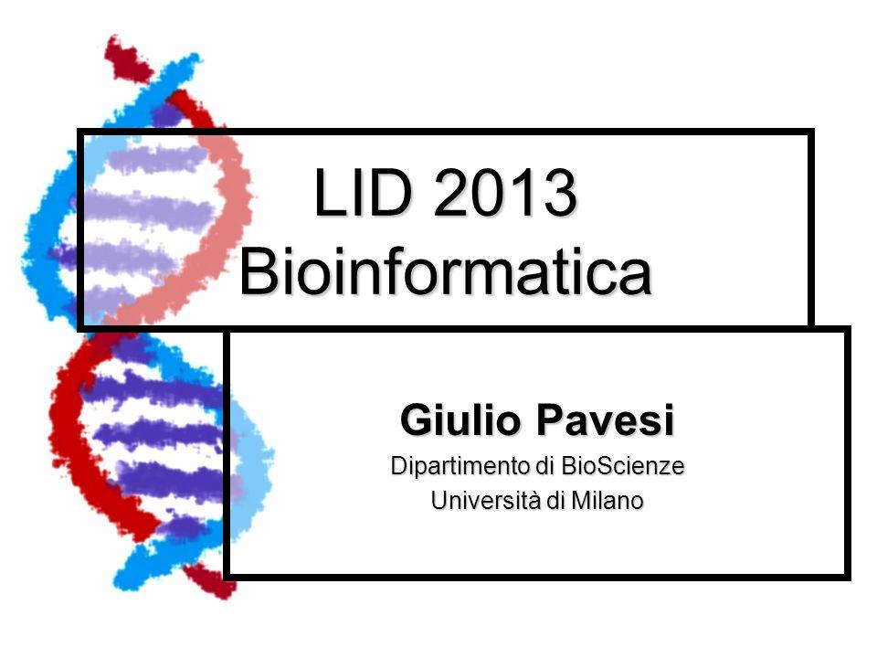Giulio Pavesi Dipartimento di BioScienze Università di Milano