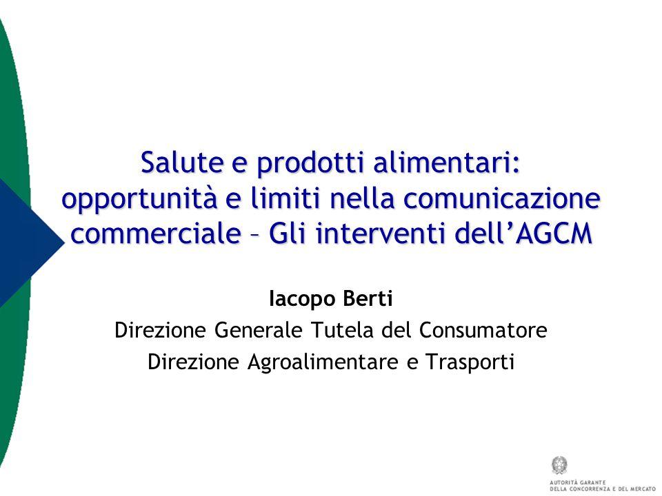 Salute e prodotti alimentari: opportunità e limiti nella comunicazione commerciale – Gli interventi dell'AGCM