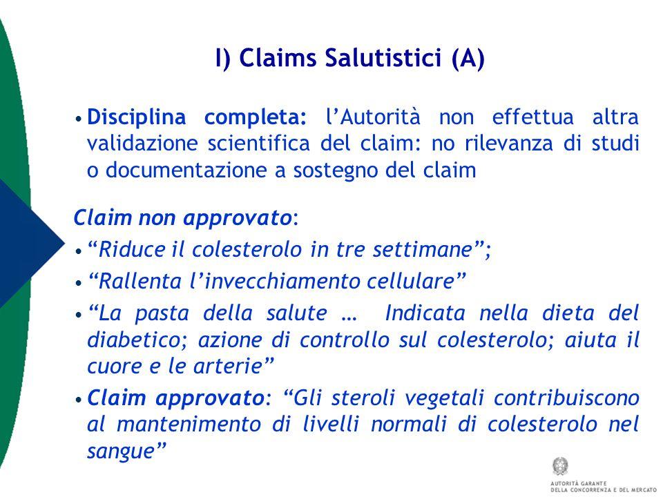 I) Claims Salutistici (A)