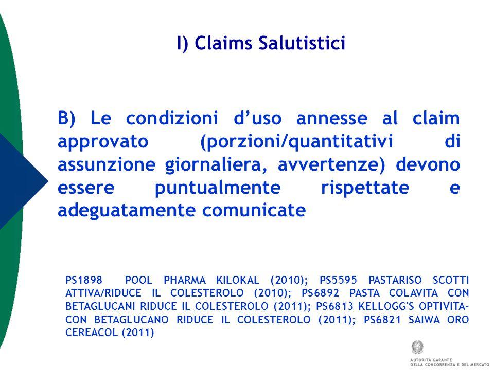 I) Claims Salutistici