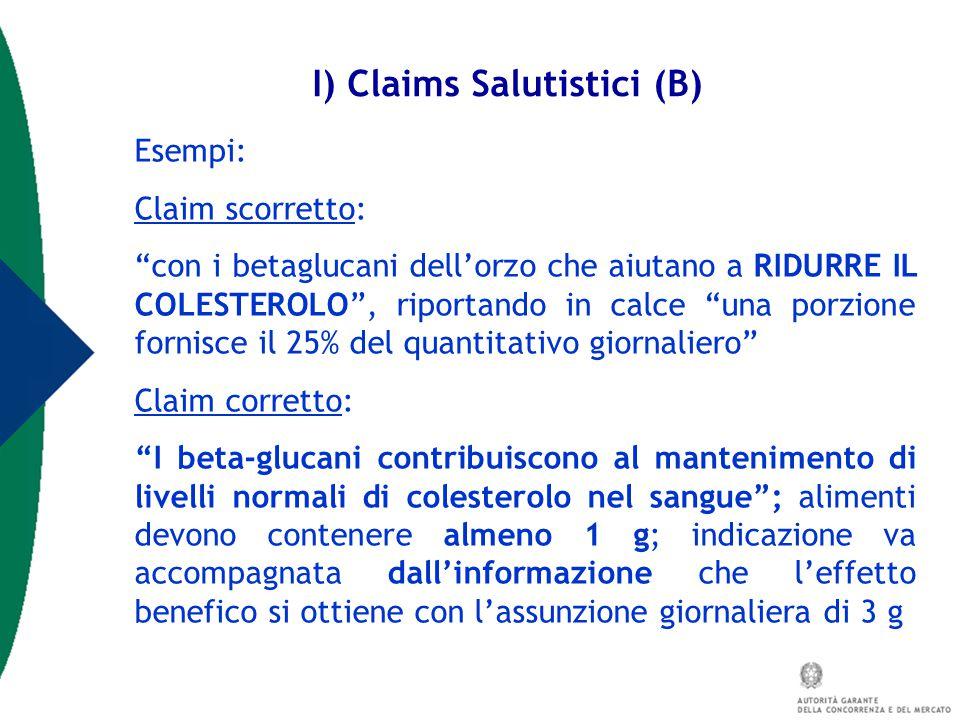 I) Claims Salutistici (B)