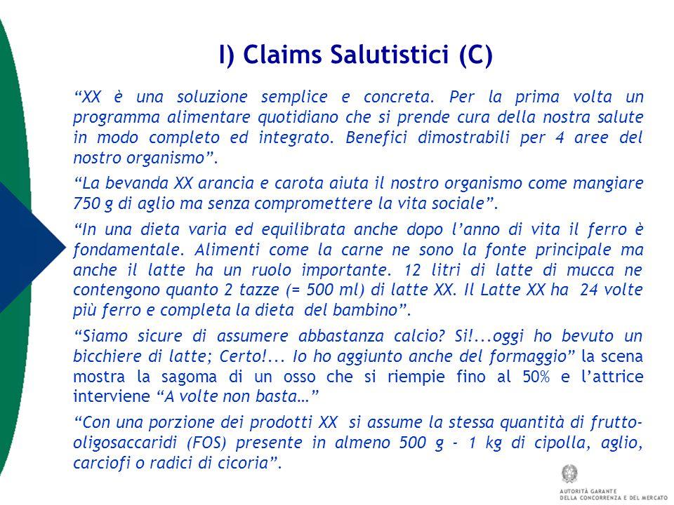 I) Claims Salutistici (C)