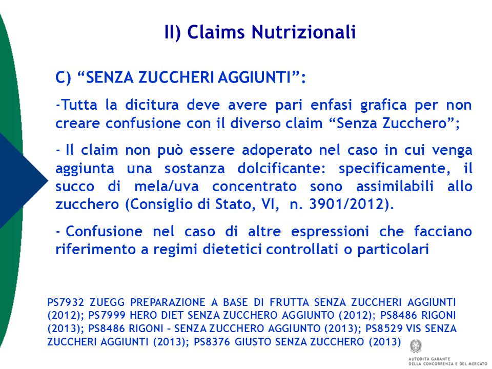 II) Claims Nutrizionali