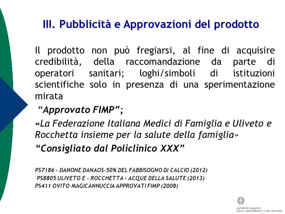 III. Pubblicità e Approvazioni del prodotto