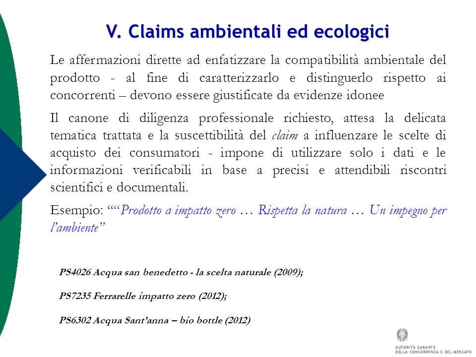V. Claims ambientali ed ecologici