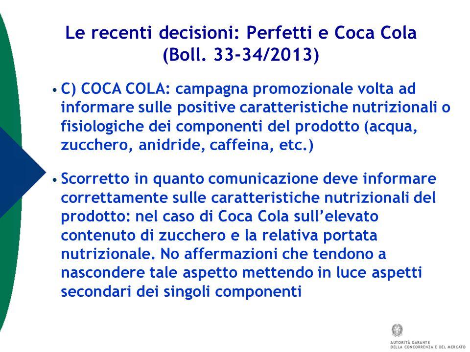 Le recenti decisioni: Perfetti e Coca Cola (Boll. 33-34/2013)
