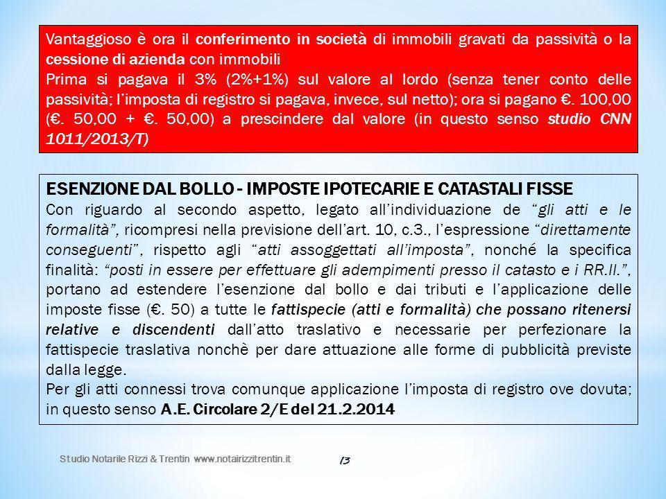 ESENZIONE DAL BOLLO - IMPOSTE IPOTECARIE E CATASTALI FISSE
