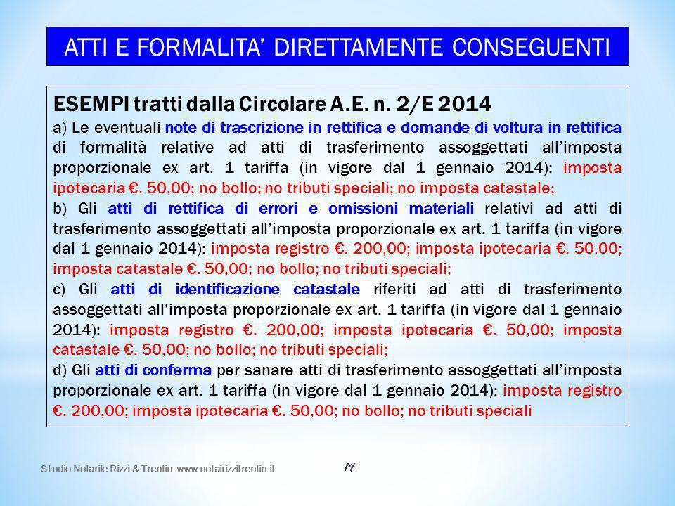 ATTI E FORMALITA' DIRETTAMENTE CONSEGUENTI