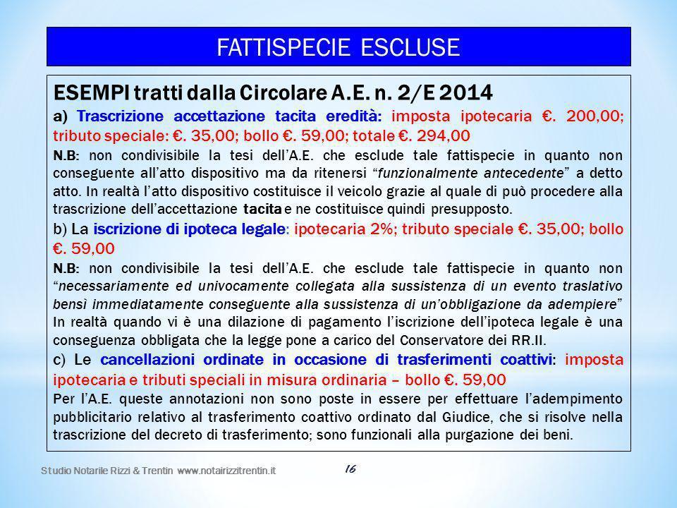 FATTISPECIE ESCLUSE ESEMPI tratti dalla Circolare A.E. n. 2/E 2014