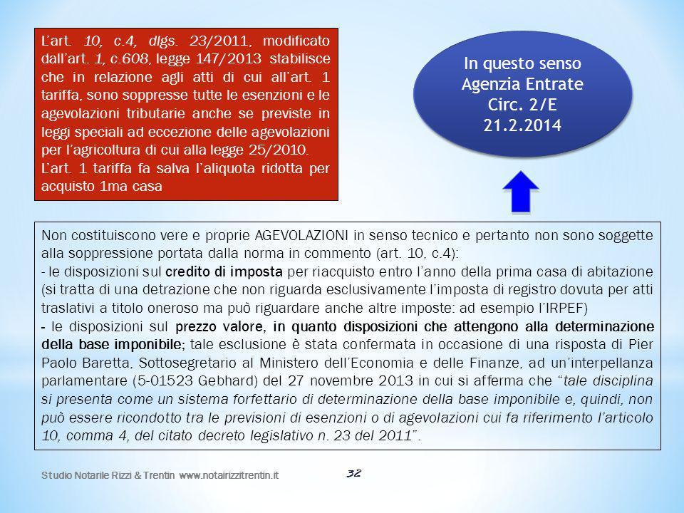 In questo senso Agenzia Entrate Circ. 2/E 21.2.2014