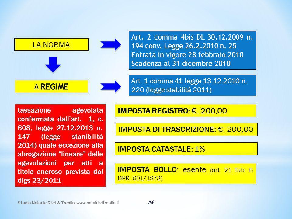 IMPOSTA DI TRASCRIZIONE: €. 200,00