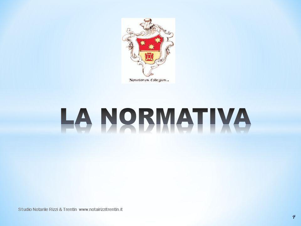 LA NORMATIVA Studio Notarile Rizzi & Trentin www.notairizzitrentin.it