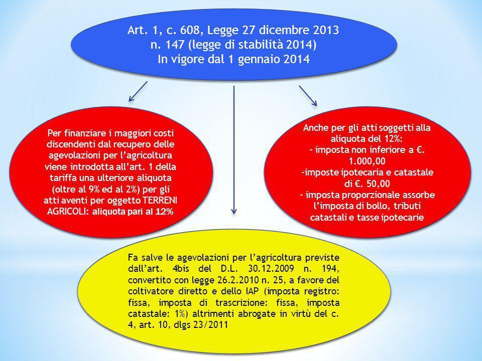 Art. 1, c. 608, Legge 27 dicembre 2013 n. 147 (legge di stabilità 2014)