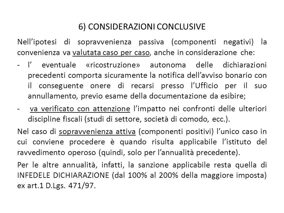 6) CONSIDERAZIONI CONCLUSIVE