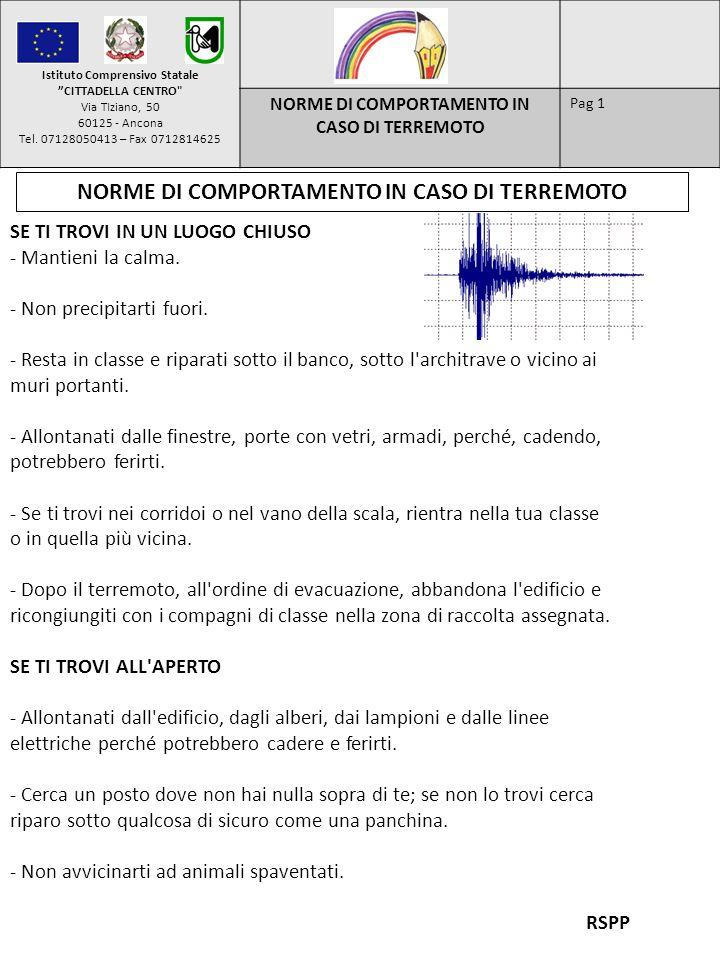NORME DI COMPORTAMENTO IN CASO DI TERREMOTO