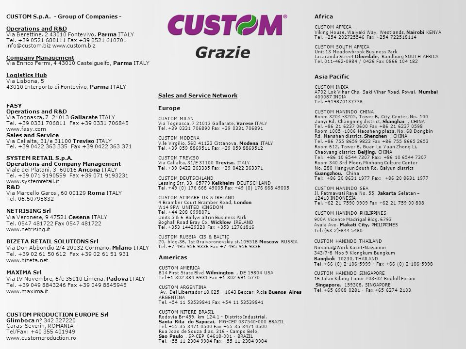 Grazie Africa CUSTOM S.p.A. - Group of Companies - Operations and R&D