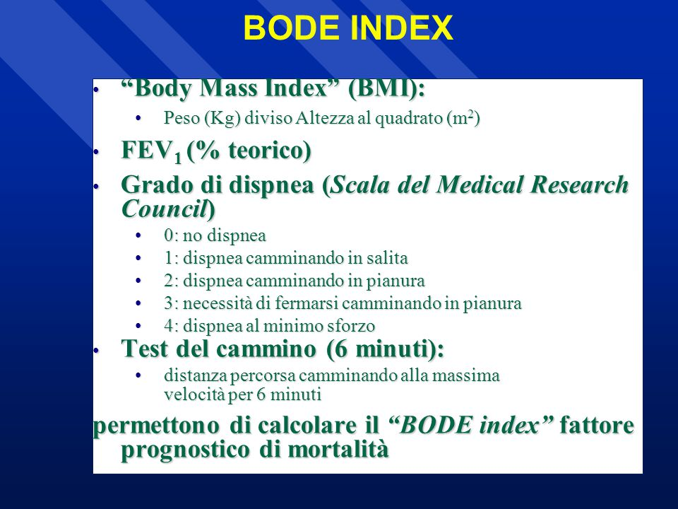 BODE INDEX Body Mass Index (BMI): FEV1 (% teorico)