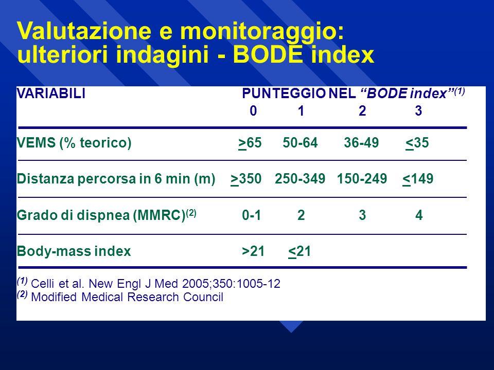 Valutazione e monitoraggio: ulteriori indagini - BODE index
