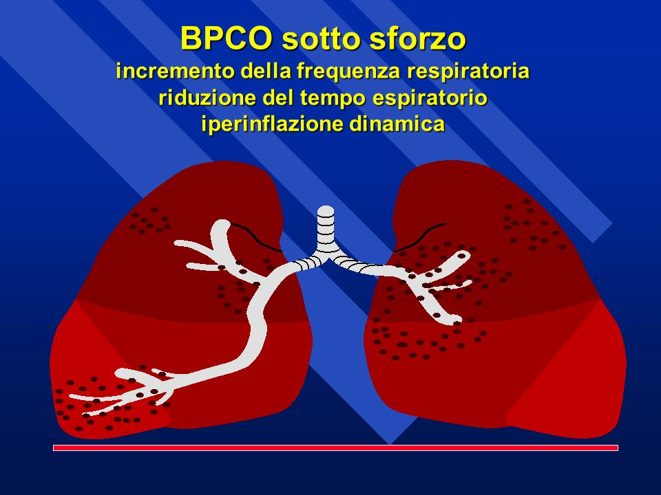 BPCO sotto sforzo incremento della frequenza respiratoria riduzione del tempo espiratorio iperinflazione dinamica