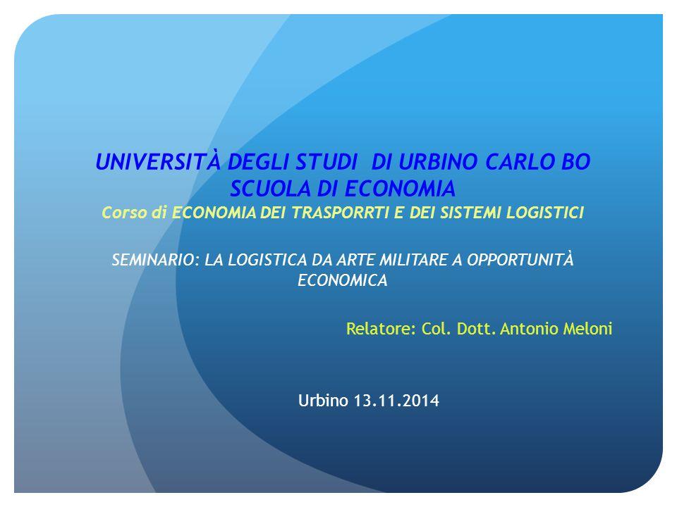 Relatore: Col. Dott. Antonio Meloni Urbino 13.11.2014