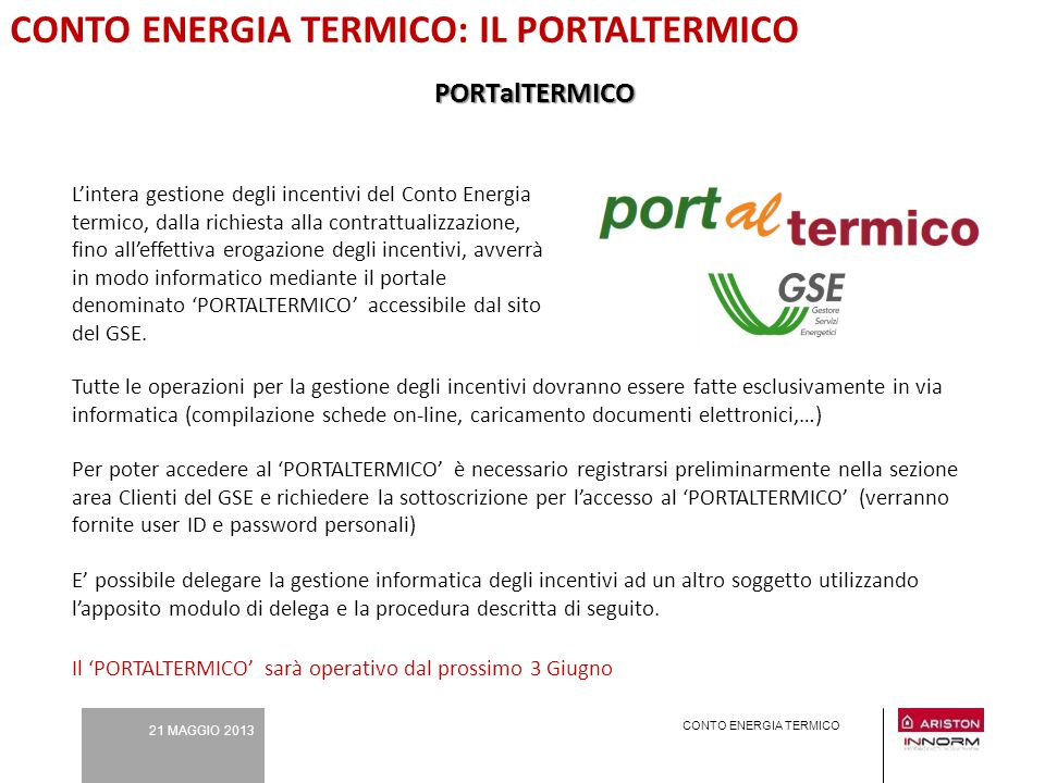 CONTO ENERGIA TERMICO: IL PORTALTERMICO