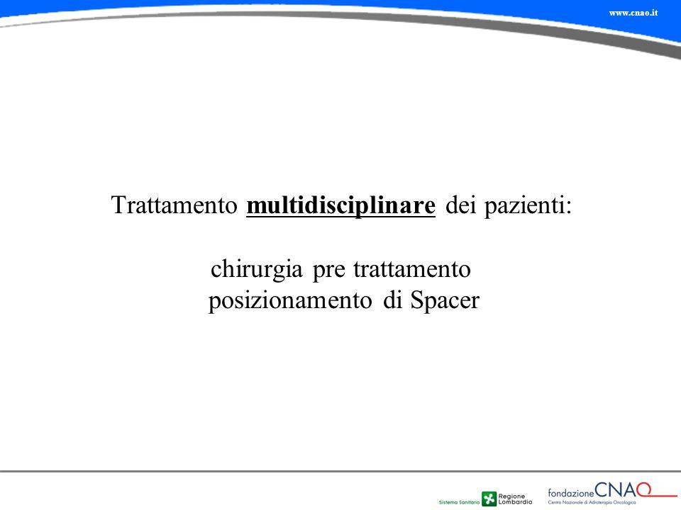 Trattamento multidisciplinare dei pazienti: chirurgia pre trattamento posizionamento di Spacer