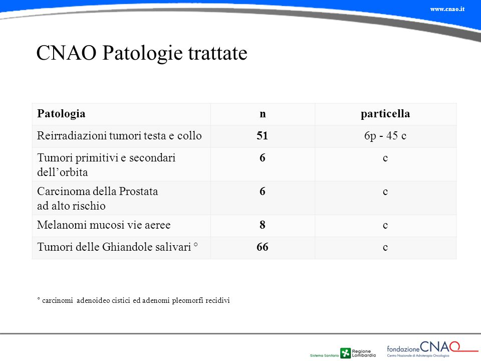 CNAO Patologie trattate