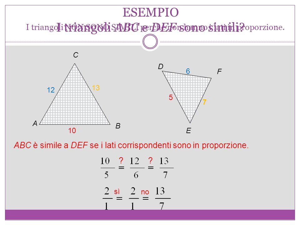 ESEMPIO I triangoli ABC e DEF sono simili