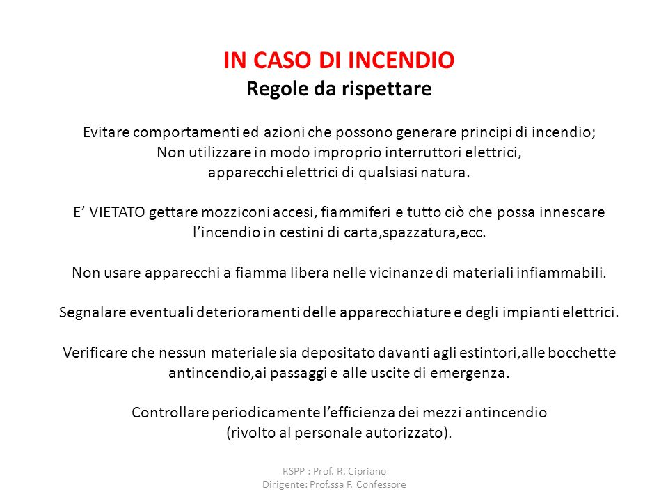 RSPP : Prof. R. Cipriano Dirigente: Prof.ssa F. Confessore