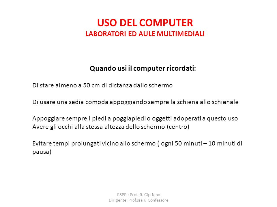 Uso del computer laboratori ed aule multimediali
