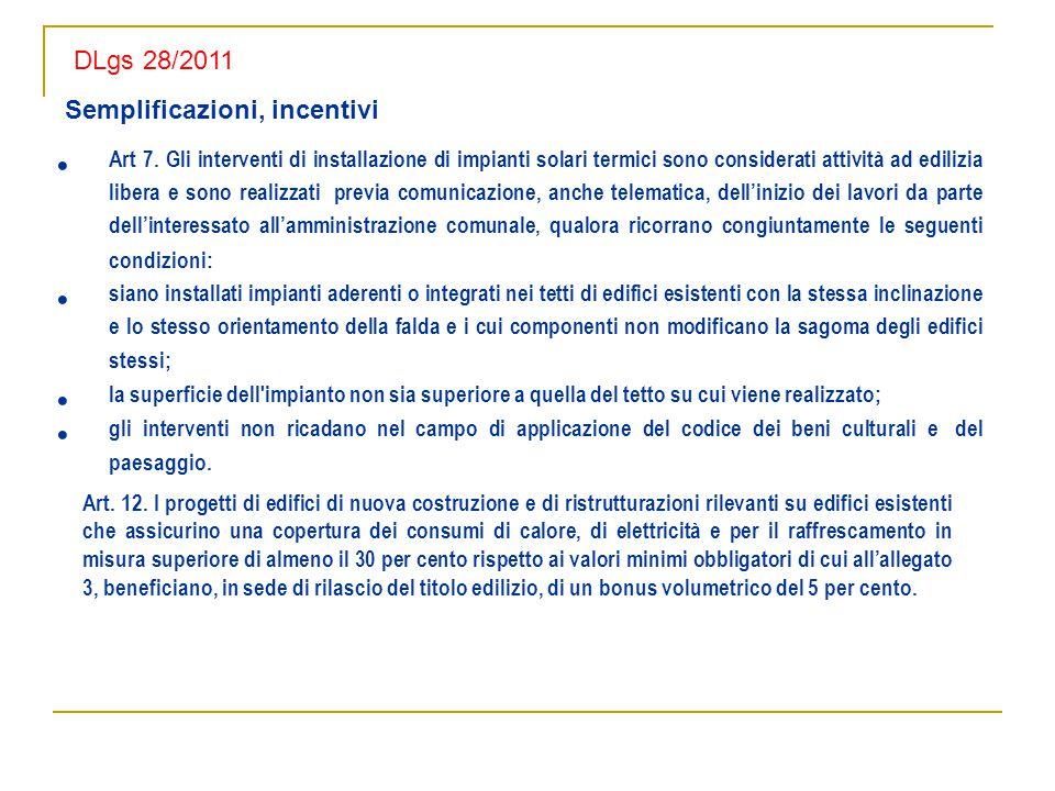 DLgs 28/2011 Semplificazioni, incentivi.