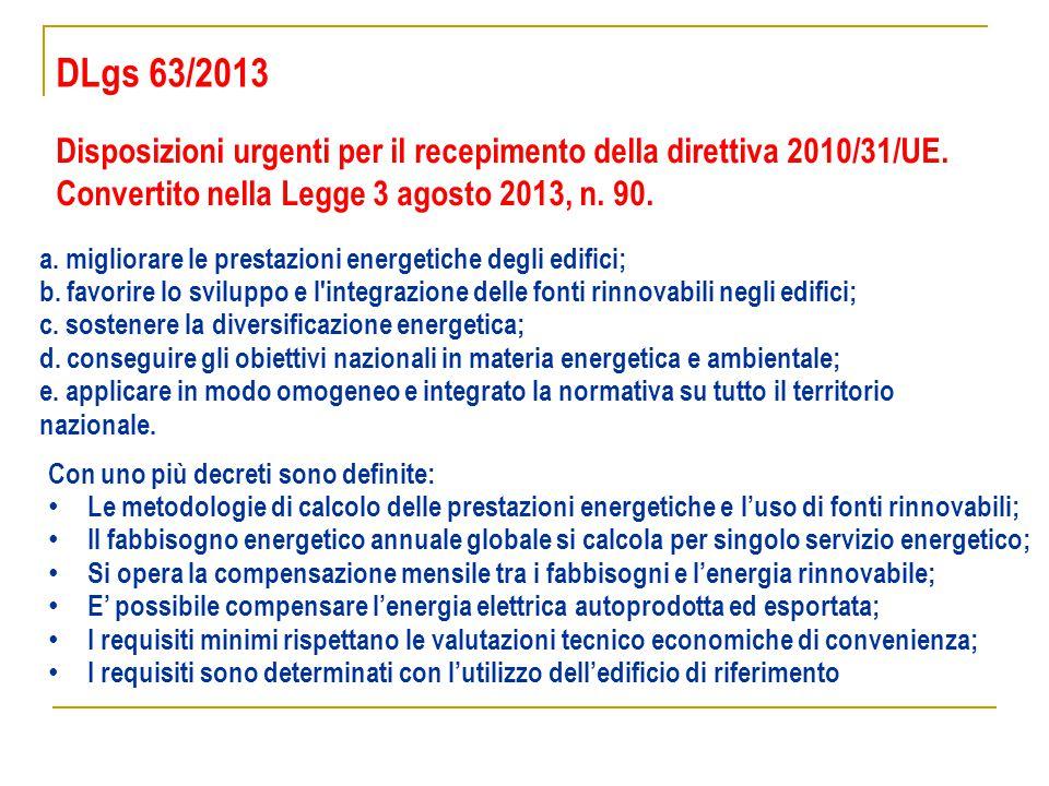 DLgs 63/2013 Disposizioni urgenti per il recepimento della direttiva 2010/31/UE. Convertito nella Legge 3 agosto 2013, n. 90.
