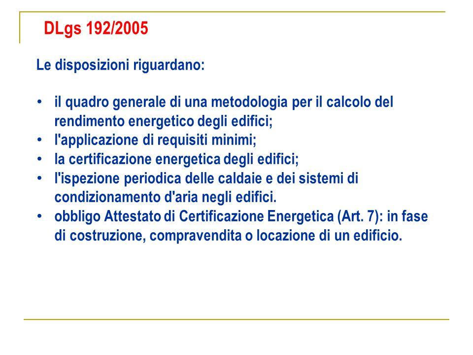 DLgs 192/2005 Le disposizioni riguardano: