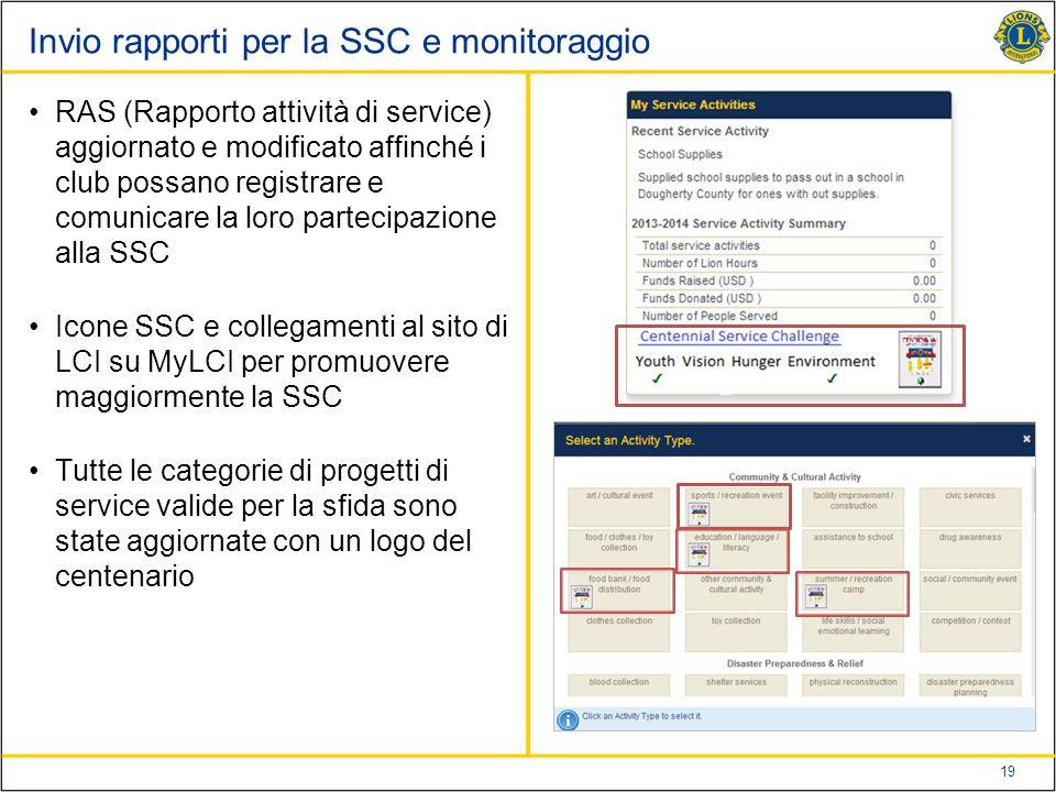 Invio rapporti per la SSC e monitoraggio