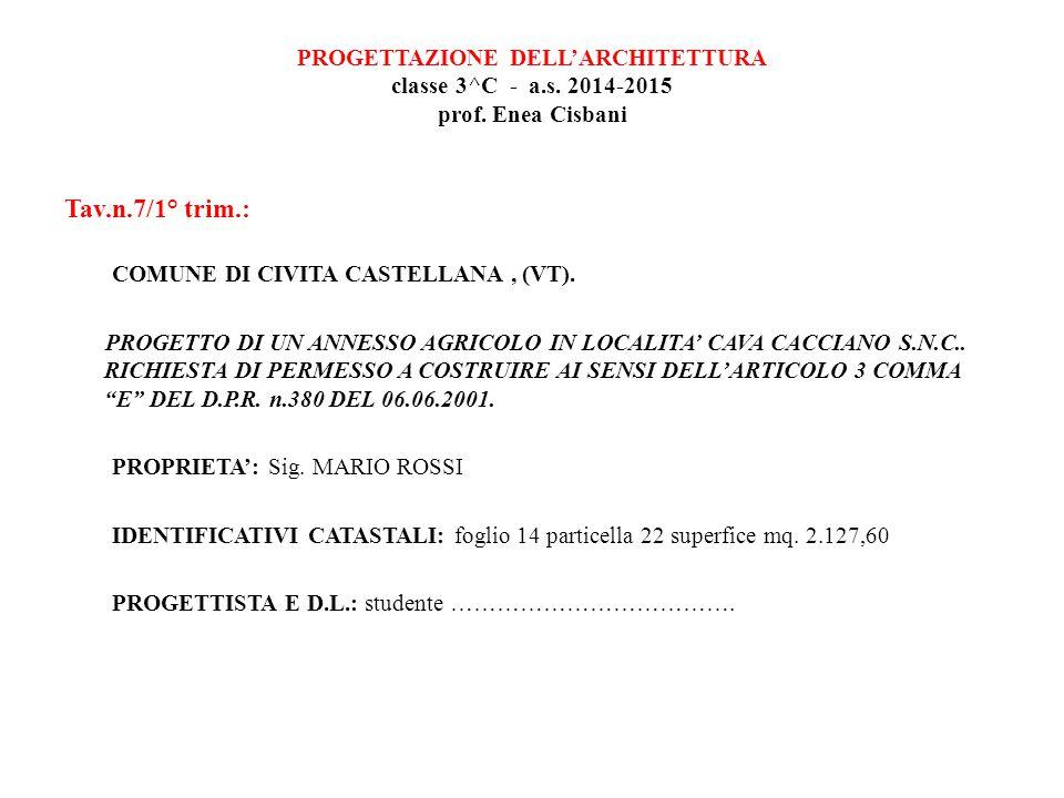 PROGETTAZIONE DELL'ARCHITETTURA classe 3^C - a. s. 2014-2015 prof